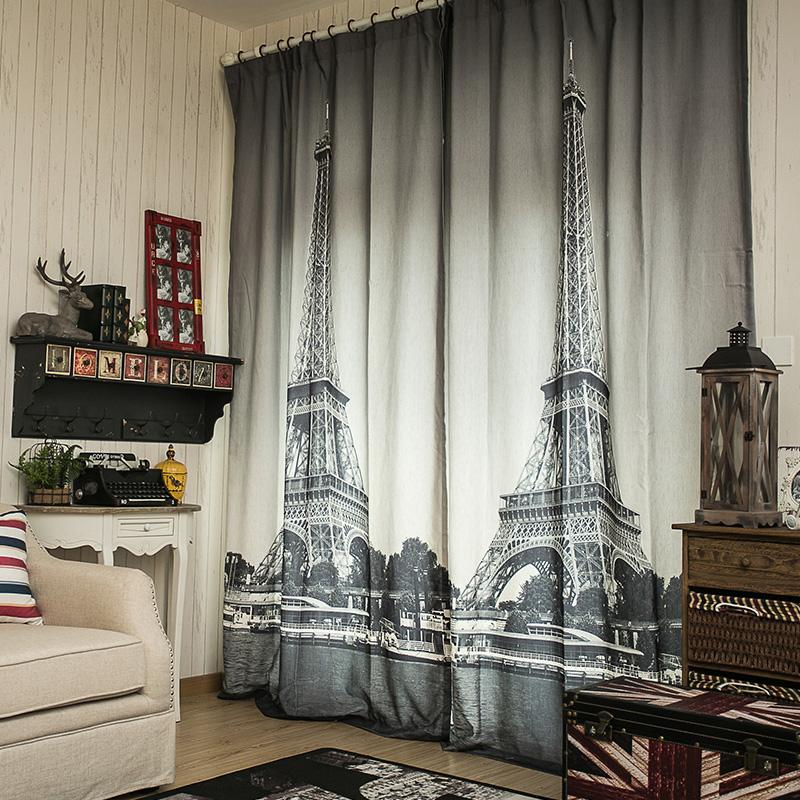 Шторы с фотопечатью Париж на окне в гостиной