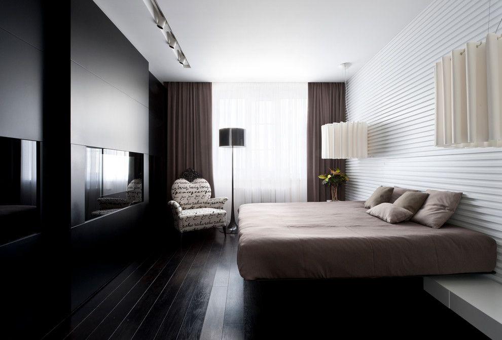 Темные шторы в спальне стиля модерн