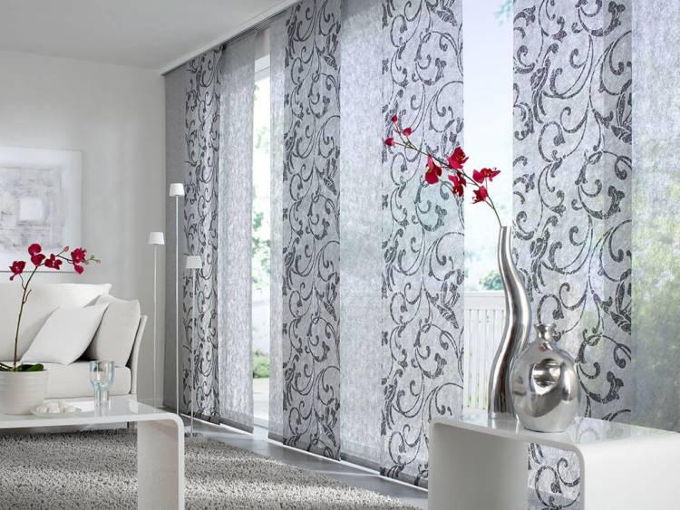 Японские шторы с растительным принтом для гостиной
