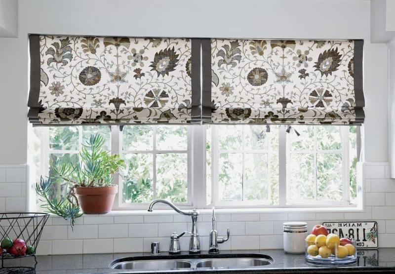 шторы для кухни с крупным рисунком