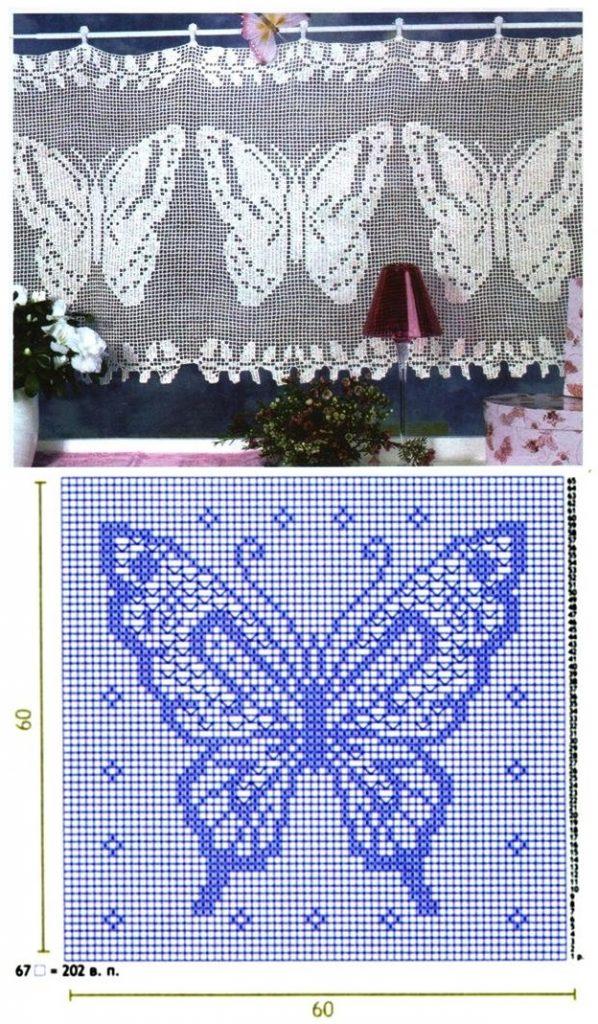 Схема вязки филейного орнамента в виде крупной бабочки