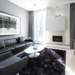 Интерьер зала в оттенках серого цвета