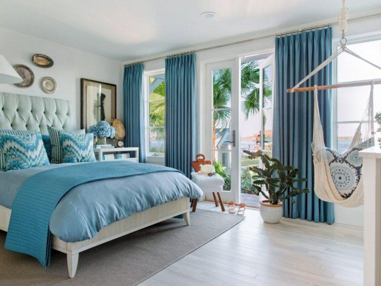 Бирюзовый цвет в интерьере спальной комнаты