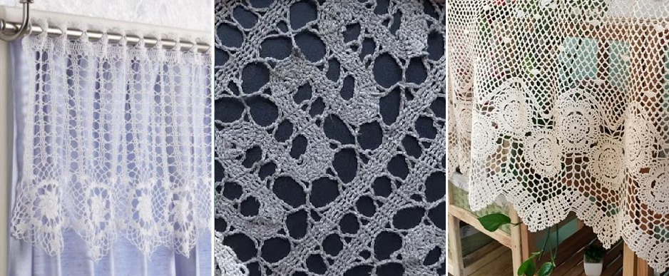 Примеры кухонных занавесок в технике брюгге