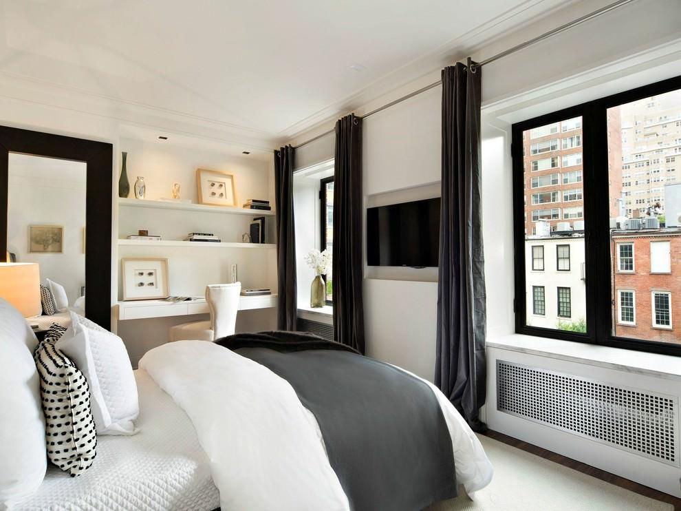 Черные шторы в интерьере спальной комнаты