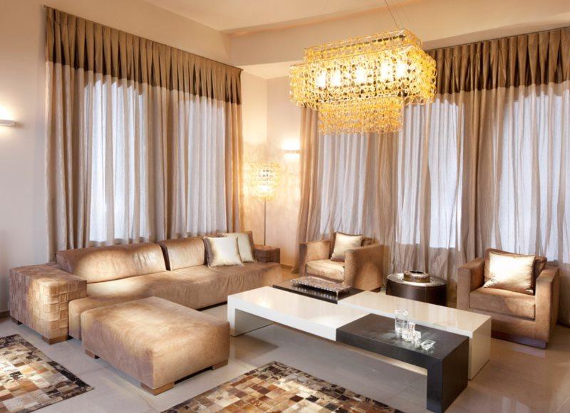 Дизайн угловой гостиной в частном доме