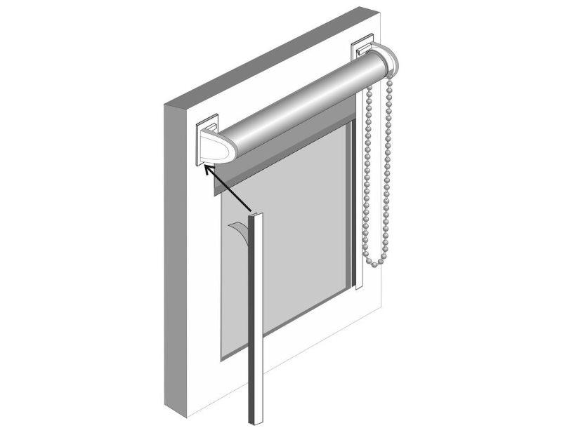 Схема монтажа боковых направляющих рулонной шторы