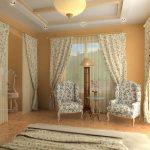Уютное оформление спальни текстилем в мелкий цветочек