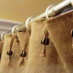шторы из рогожки на кольцах