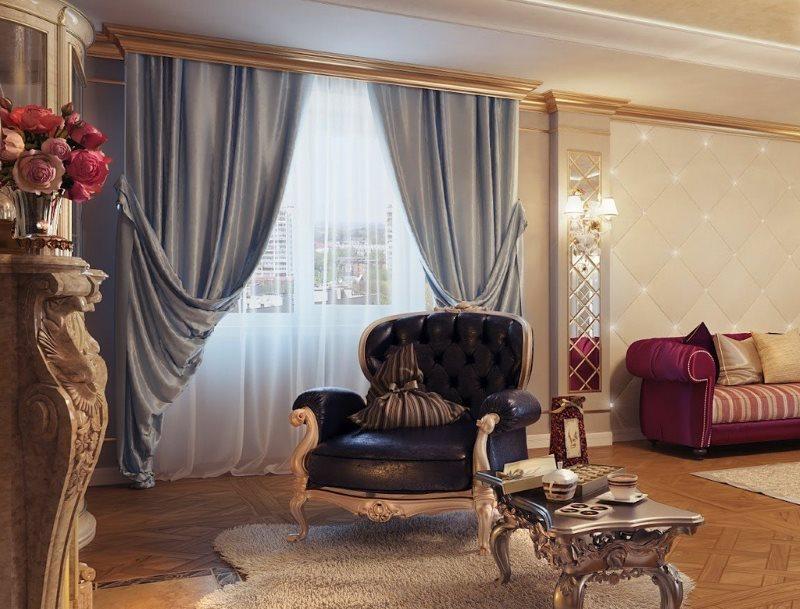 Подбор штор для гостиной в классическом стиле