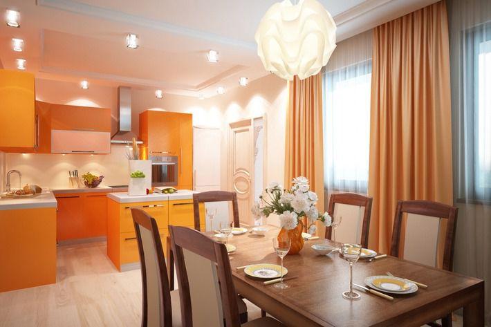 персиковые шторы на кухне