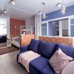 зонирование комнаты шторами дизайн интерьер