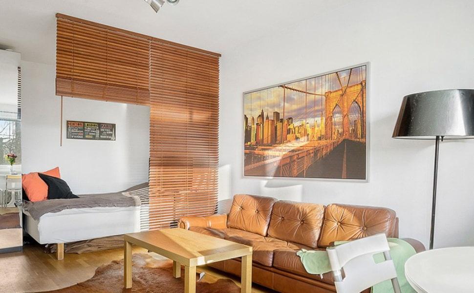 зонирование комнаты шторами интерьер идеи