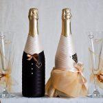 свадебное оформление бутылок и бокалов