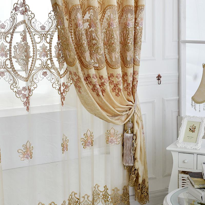 тюль с золотой вышивкой