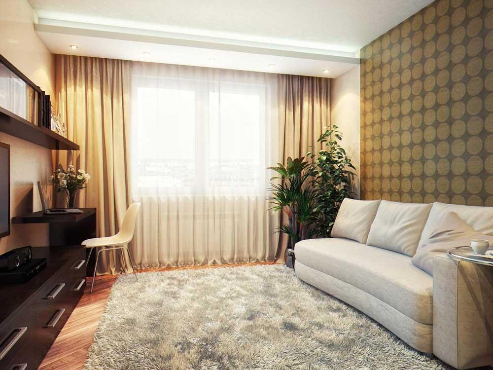 ширина штор в гостиной