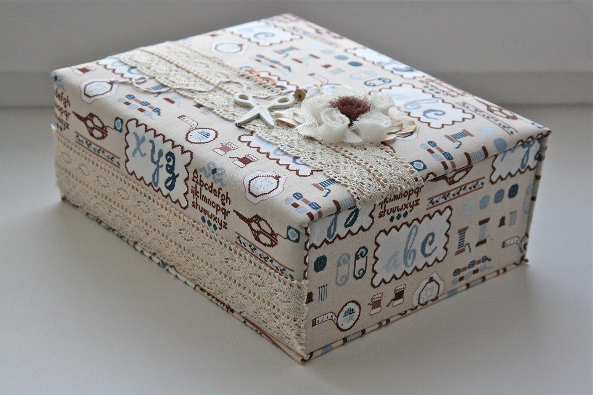 декор коробки тканью