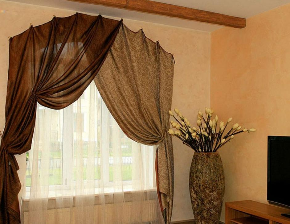 декор окна шторами без карниза