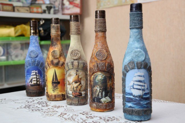 декупаж бутылок фото идеи