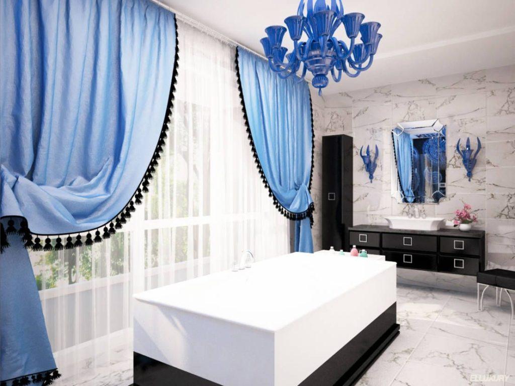 голубые шторы с тюлем