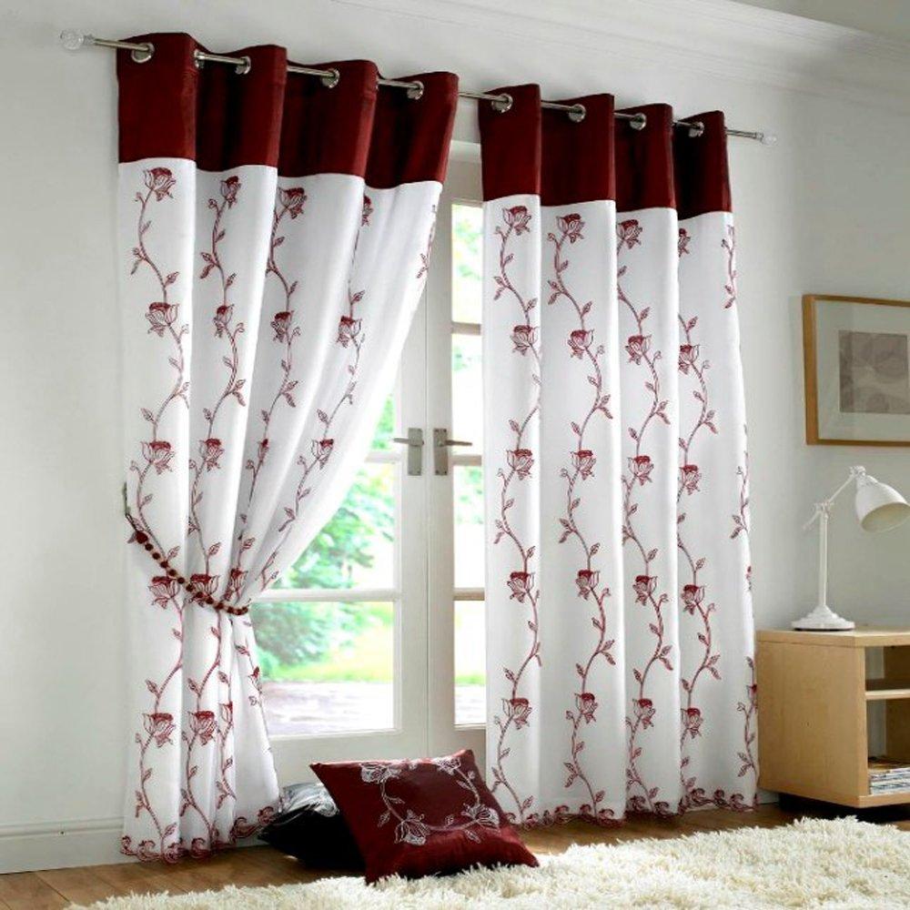 комбинированные шторы белые с красным