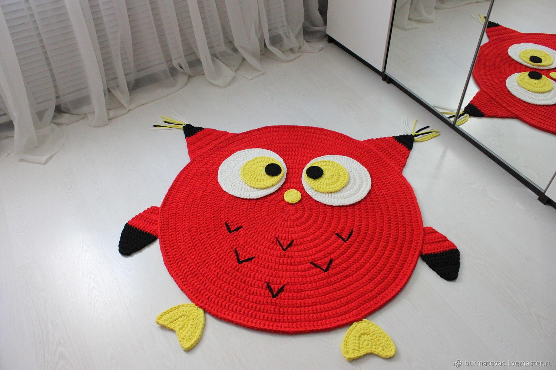 вязаный коврик сова декор