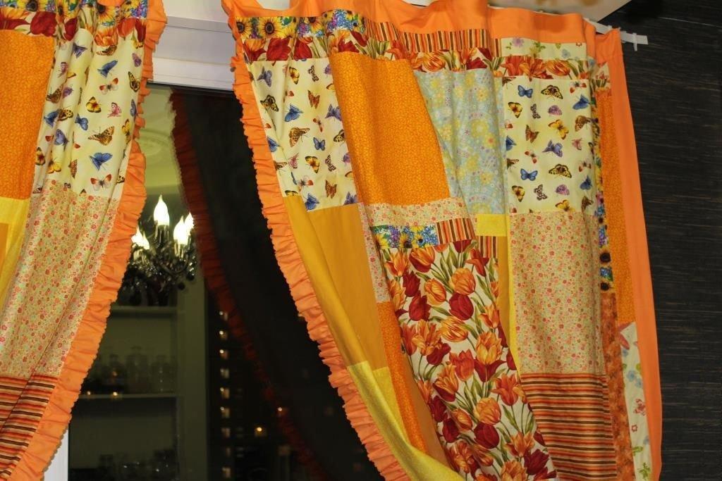 необычные шторы из лоскутов