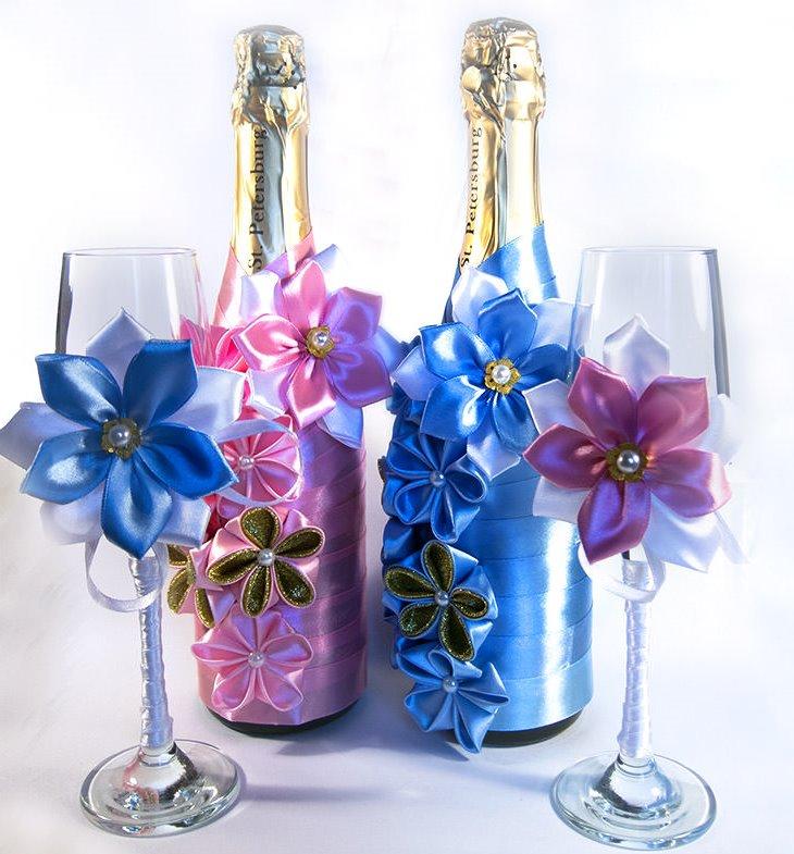 оформление бутылок шампанского на свадьбу декор