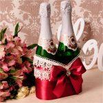 оформление бутылок шампанского на свадьбу фото декор