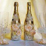 оформление бутылок шампанского на свадьбу идеи декор