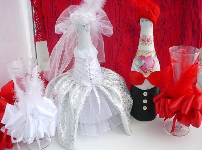 оформление бутылок шампанского на свадьбу идеи дизайн