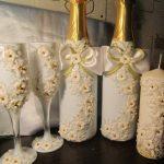 оформление бутылок шампанского на свадьбу идеи дизайна