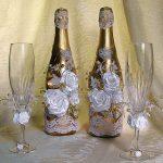 оформление бутылок шампанского на свадьбу идеи варианты