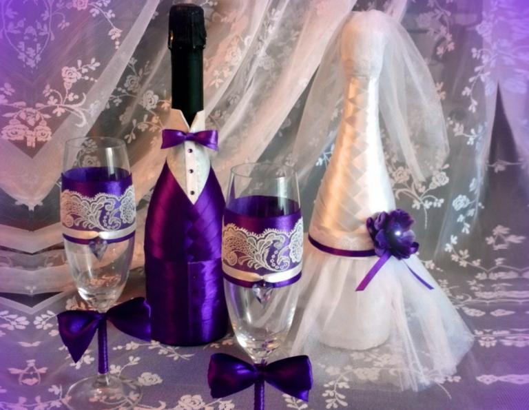 оформление бутылок шампанского на свадьбу фото