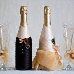 оформление бутылок шампанского на свадьбу варианты фото