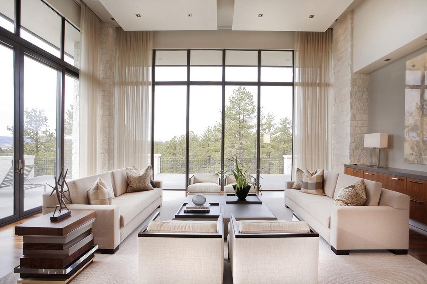 шторы на панорамные окна фото интерьер