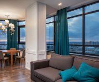 шторы на панорамные окна идеи декор
