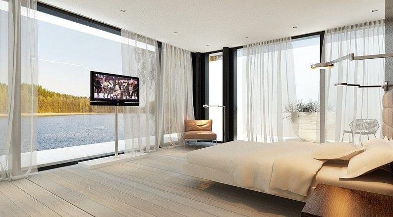 шторы на панорамные окна идеи вариантов