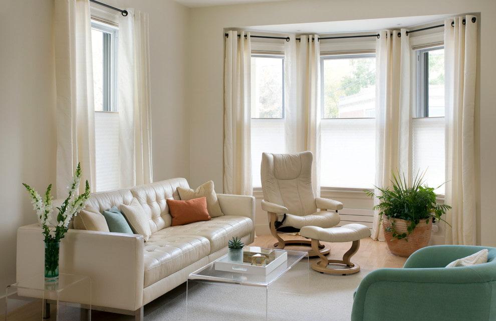 шторы на эркерное окно текстиль идеи