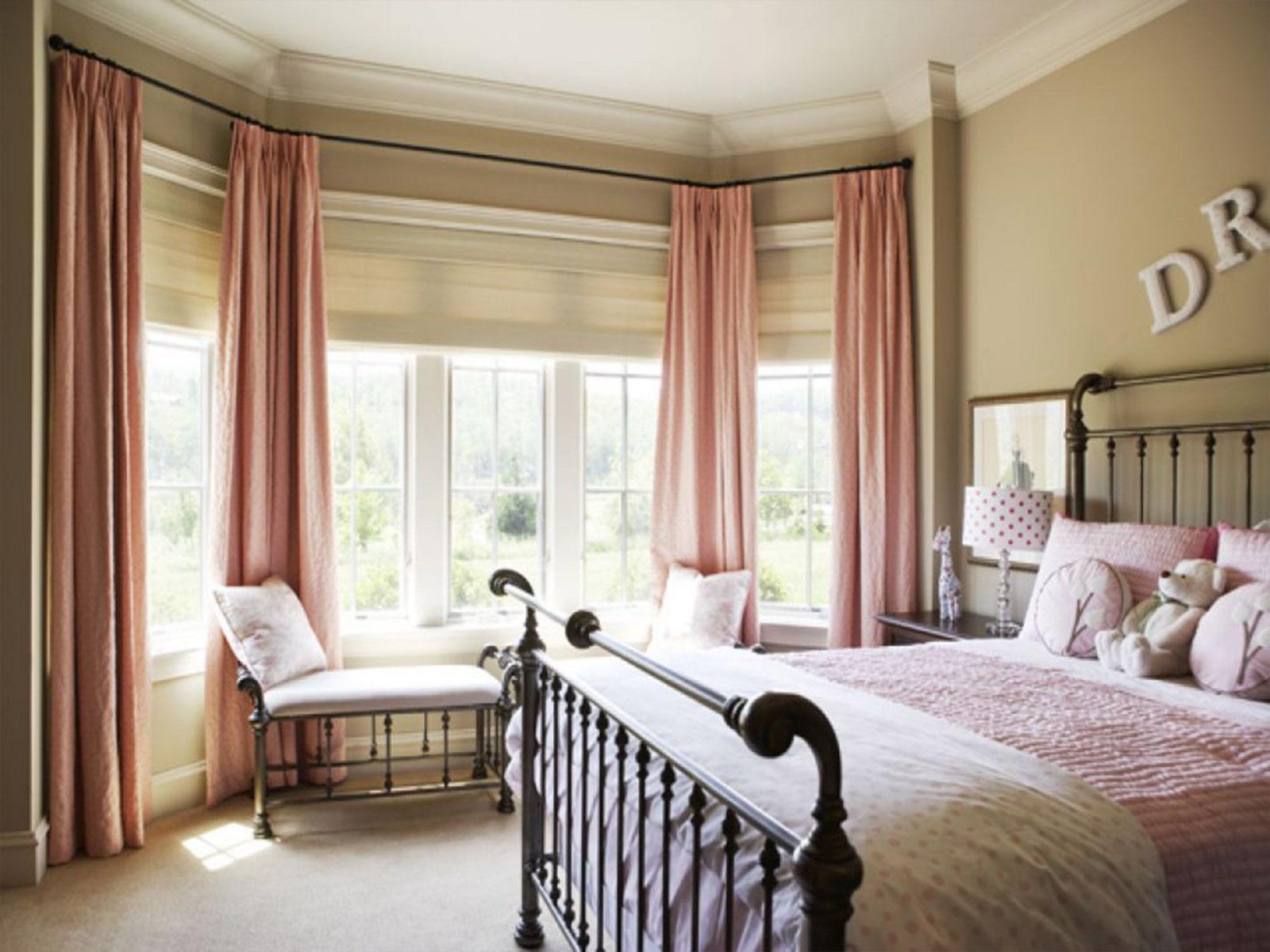 шторы на эркерное окно варианты