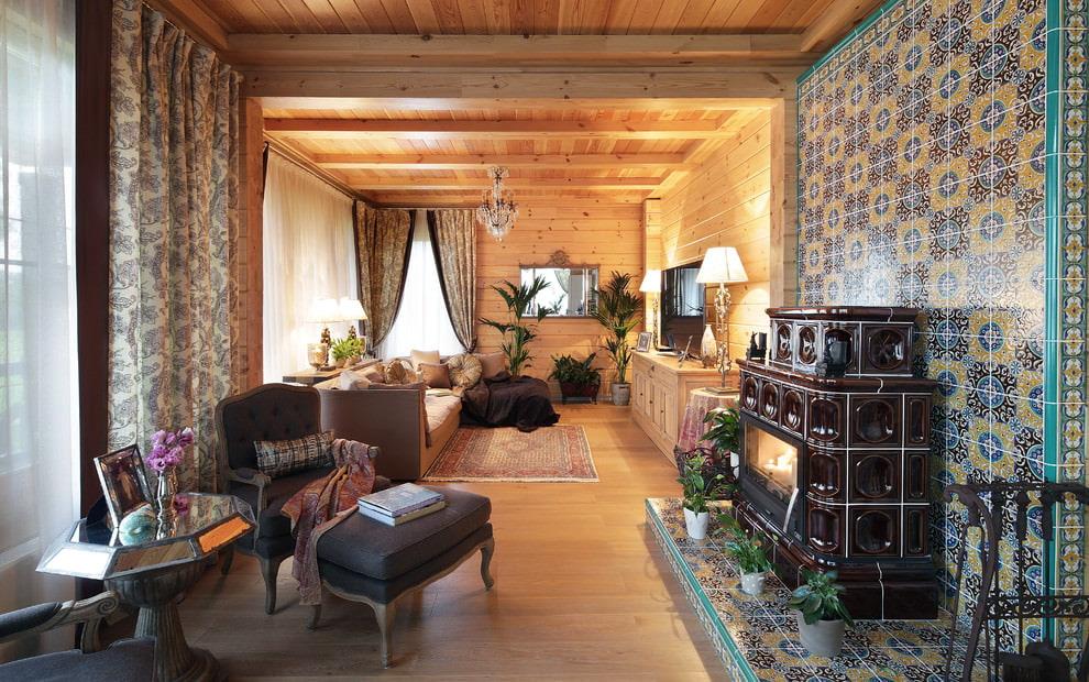 шторы в деревянном доме декор