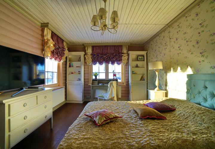 шторы в деревянном доме фото текстиля