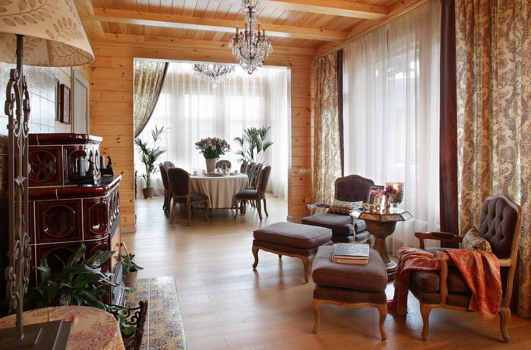 шторы в деревянном доме идеи стиль