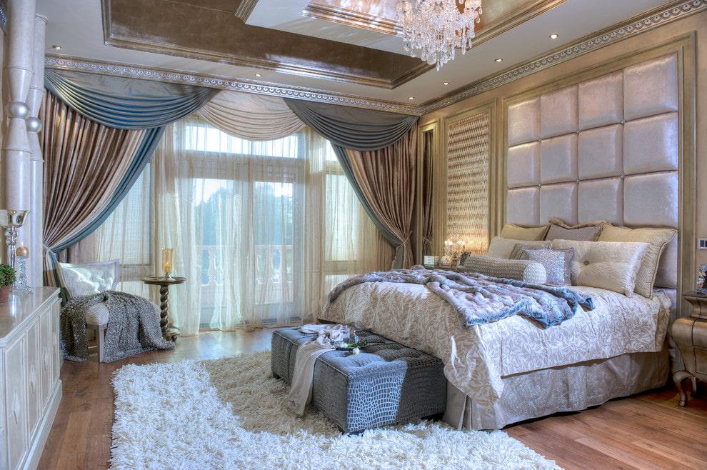 тюль в спальне интерьер