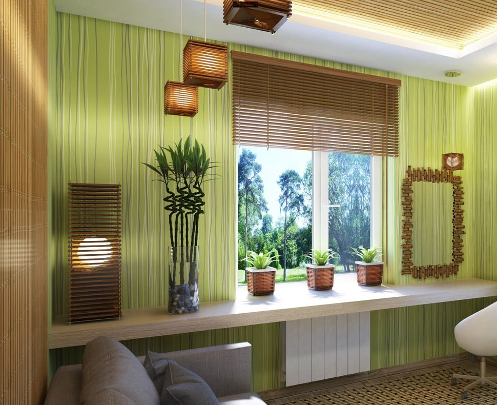 бамбуковые шторы фото интерьера