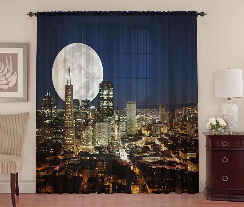 фотошторы на окна лунный свет