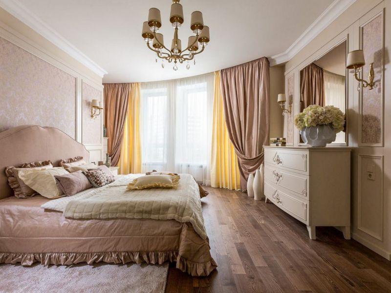 комплект из штор и покрывала для спальни идеи декора