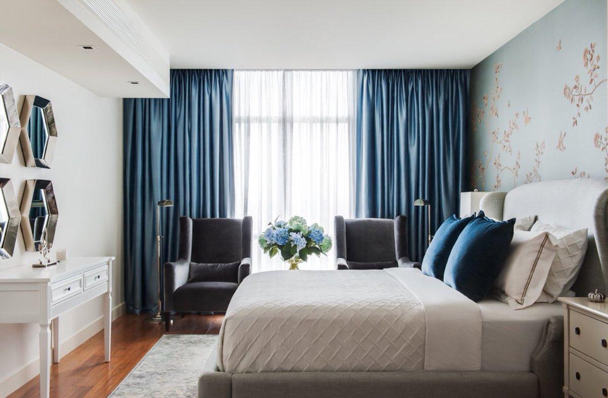 комплект из штор и покрывала для спальни идеи дизайна