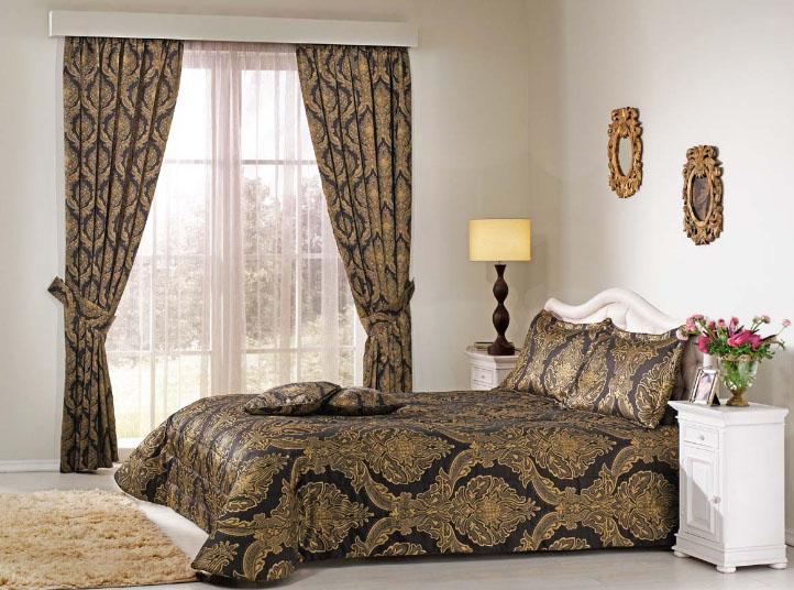 комплект из штор и покрывала для спальни варианты идеи