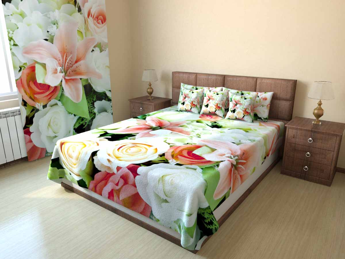 комплект из штор и покрывала для спальни варианты